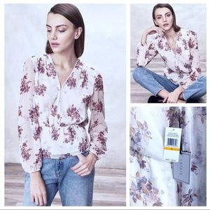 NWT 1.State Floral-Print Peplum Blouse